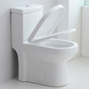 HOROW Modern One Piece Toilet Dual Flush with Soft Closing Seat Small Toilet