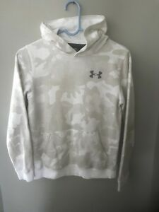 Under Armour Loose Hoodie Youth Large White Gray Camo pattern