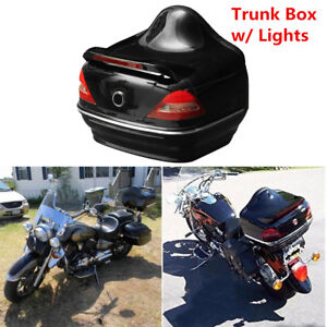 Universal Motorcycle Tail Trunk Box with Red Taillight Brake  Turn Signal Light