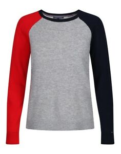 Tommy Hilfiger Acia Cable Womens Jumper Knits - Red White Midnight All Sizes