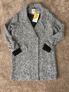NWT Camp;C California Women's Marled Black amp; White Coat Jacket Tweed Style Large
