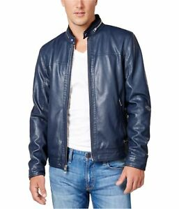 GUESS Mens Faux Leather Motorcycle Jacket navyblazer S