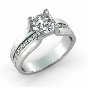 3.2 Ct D VS1 Diamond Engagement Ring 14K White Gold Princess Popular Gift