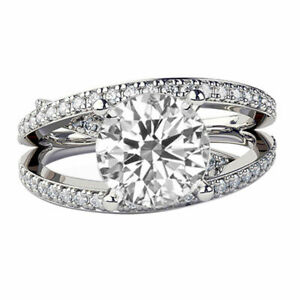 3.5 Ct D VS1 Diamond Engagement Ring 14K White Gold Round Multi Band Gift