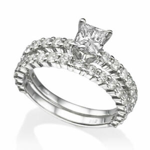 4.9 Ct D VS1 Diamond Engagement Ring 14K White Gold Princess Gift Art Deco