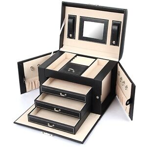 Leather Jewelry Box Necklace Ring Storage Organizer Mirrored Case Women Black