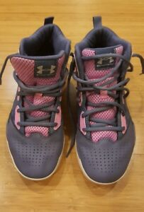Girl's Under Armour Jet Mid Basketball Shoes Youth Size 5.5 Purple  Pink EUC