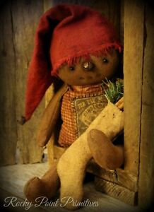 Primitive Winter Christmas Gingerbread Boy Doll with Stocking