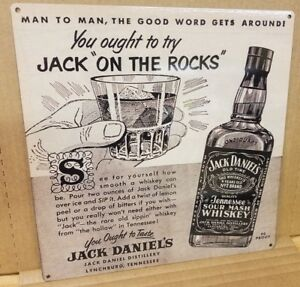 Jack Daniels on the rocks whiskey vintage ad reproduction steel sign bar decor