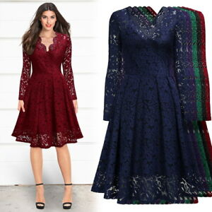 Women's Long Sleeve Lace Dress For Formal Cocktail and Evening Wear