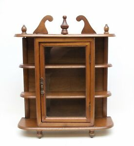 Vintage Wood Curio Cabinet Wall Hanging Display Shelf Miniatures Collectible
