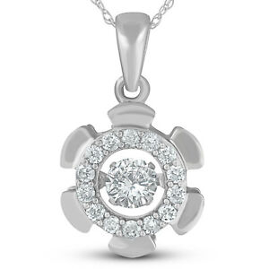 .65ct Diamond Dancing Pendant 10k White Gold Rhythm In Motion Necklace
