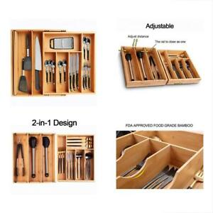 Large Flatware Organizers Bamboo Silverware Tray By VOXXOV Expandable Utensil