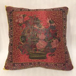 Bohemian Style Throw PILLOW Accent Gold Thread Quilted Knife Edge 15 x15