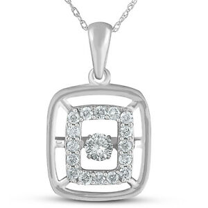 12ct Diamond Dancing Rectangular Pendant White Gold Rhythm In Motion Necklace