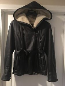 WILSONS  WOMENS GENUINE LEATHER COAT JACKET HOODIE FUR LINED BROWN MEDIUM WORNX2
