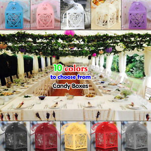 50-200 PARTY WEDDING FAVOR BOXES CANDY GIFT BAG LASER CUT 3D HOLLOW+RIBBON F8A2