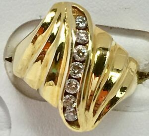 NATURAL 7 X  DIAMOND shell ring SOLID 14k yellow GOLD (17mm wide)