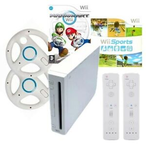 Nintendo Wii Console Bundle W Mario Kart Wii Sports Wii Play & 2 Controllers