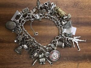 Vintage Sterling 925 Silver Mechanical Moveable 3D (30) Charm Bracelet 108+Gram