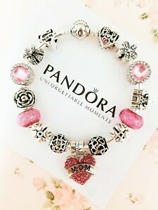 Authentic Pandora Bracelet Silver Bangle with Best Mom European Charms