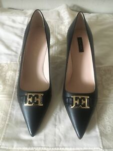 Escada Black Leather Kitty Heel Shoes Size 40 Women
