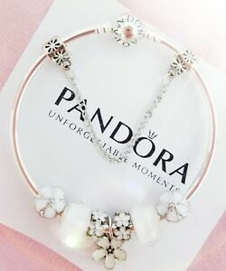 Authentic Pandora Bracelet Sterling Silver Bangle W. Flowers European Charms