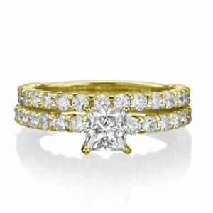 4.9 Ct D VS2 Diamond Engagement Ring 14K Yellow Gold Princess Stylish Gift