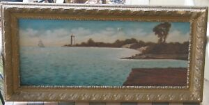 Long Island NY Lighthouse Oil 1890#x27;s Signed Inscribed Nice Quality $237.00