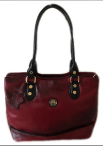 Designer Imported - 100% Genuine Soft Leather - Red and Black Handbag