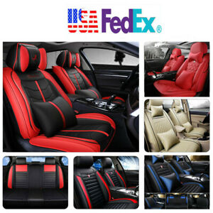PU Leather 100% Car Seat Cover 5-Seat SUV Cushions Front & Rear Set WPillows US