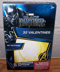 Valentines Day Cards Box of 32 Marvel Black Panther with Tattoos