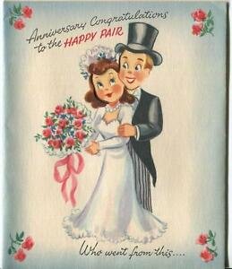 MID CENTURY BRIDE GROOM KITCHEN COOKING DOG FRUIT ROSES S & P OVEN GREETING CARD