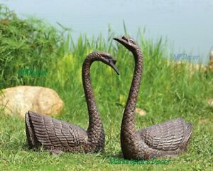 Swan Pair Garden Pond Metal Sculptures Statue Serene Waterfowl Bird SPI 51068 $352.00