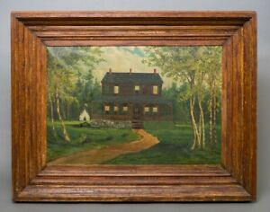 Civil War Era Framed Oil on Canvas Painting House w Union Tent in Yard 27