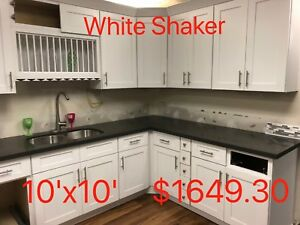 All Wood RTA 10X10 Kitchen Cabinets in  White Shaker