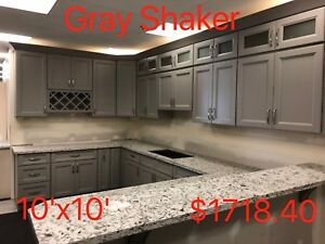 All Wood RTA 10X10 Kitchen Cabinets in Gray Shaker