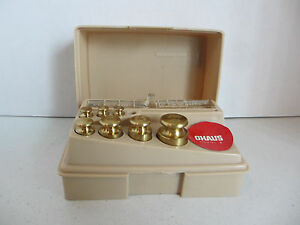 8 PC SET OHAUS BRASS SCALE WEIGHTS SMALLEST ONE MISSING  #44