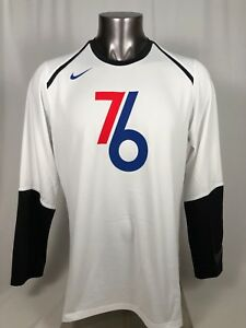 PHILADELPHIA SIXERS 76ERS CITY COLLECTION NIKE DRY FIT LONG SLEEVE SHIRT LARGE