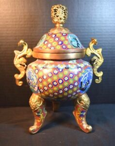 Older Chinese Cloisonne Footed Covered Urn with Handles
