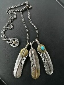 Goro's Feather Pendant Necklace Sterling 925 Silver