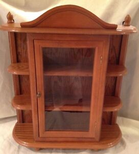Vtg Large Wood Curio Cabinet Display Case Table Wall Hanging Shelf Glass Door
