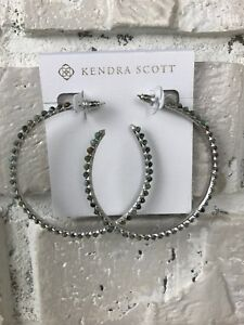 Kendra Scott Birdie Hoop Earrings in African Turquoise Silver NWT $95 MSRP
