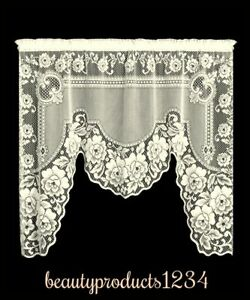HERITAGE LACE Ecru VICTORIAN ROSE One Piece Swag 60quot; x 48quot; Made USA LACE $33.95