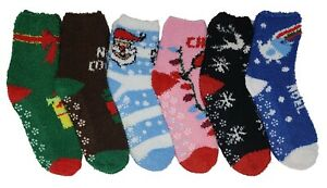 6 Pairs Women's Fuzzy Slipper Socks Cozy Super Soft Plush Thick Fleece Non Skid