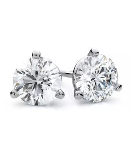Gorgeous 1.50 CTW Genuine Diamonds martini-style 14kt Studs Earrings Screw back