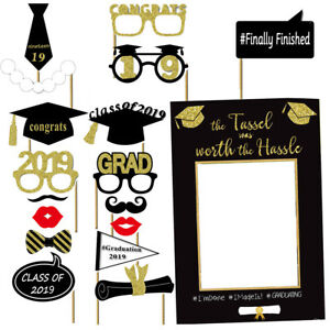 1 Set of Graduation Photo Booth Props Kit Party Favor for 2019 Graduation Party