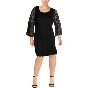 Signature By Robbie Bee Womens Black Lace Party Cocktail Dress Plus 2X BHFO 4911