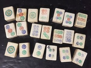 Lot 20 Vtg  Bovine Bone & Bamboo Mah Jongg Tiles Replacement Craft Jewelry dots