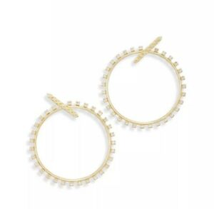 NWT Kendra Scott Charlie Grace $80 Hoop Statement Earrings CZ Gold